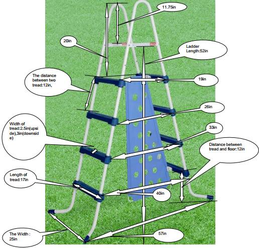 Dimensions of A-Frame Barrier Ladder